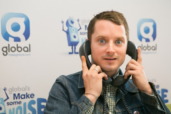 Elijah Wood answers the phones during Global's Make Some Noise Charity Day at Global Radio station in Leicester Square, London.