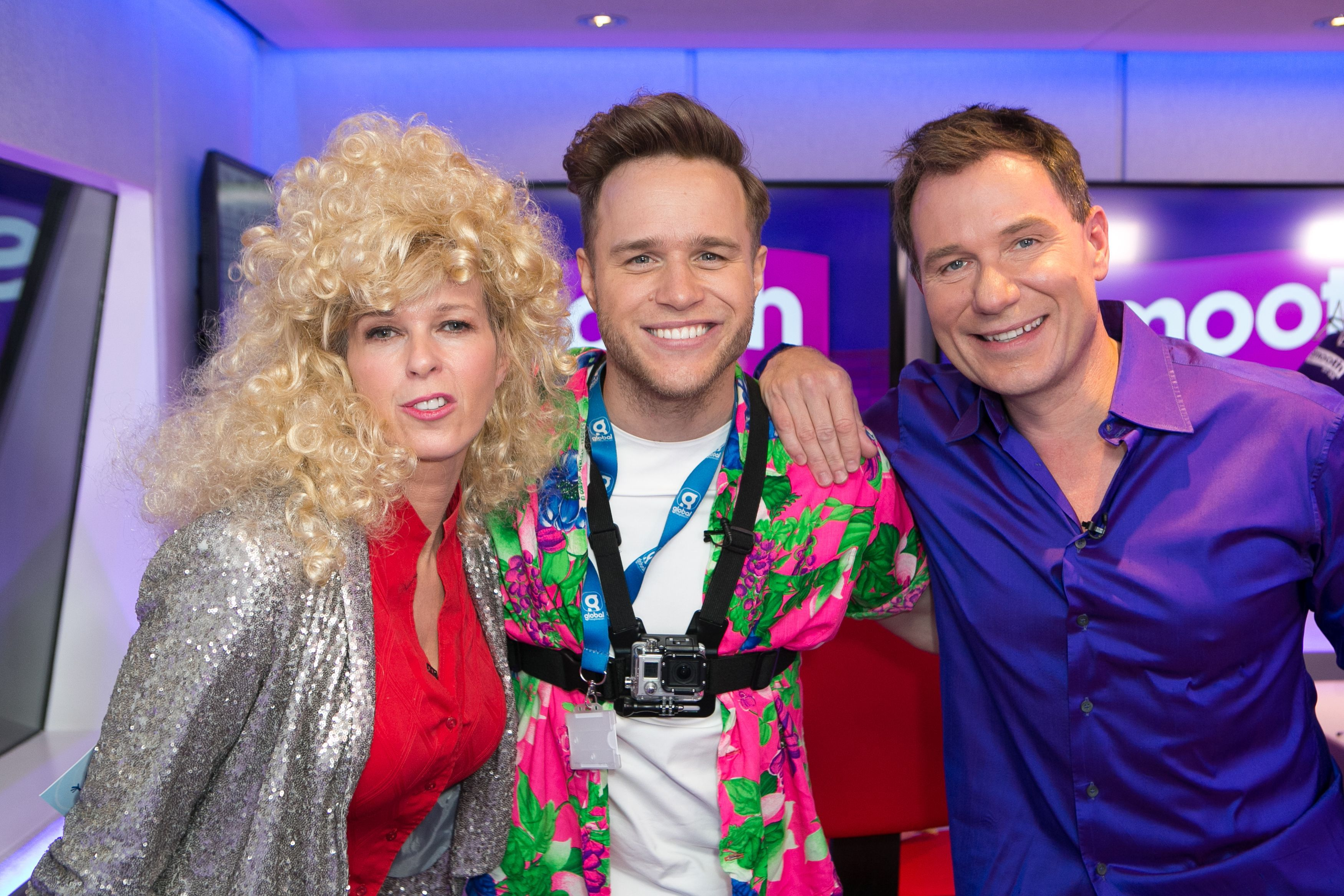 (Left-right) Kate Garraway, Olly Murs and Richard Arnold attending Global's Make Some Noise Charity Day at Global Radio station in Leicester Square, London.