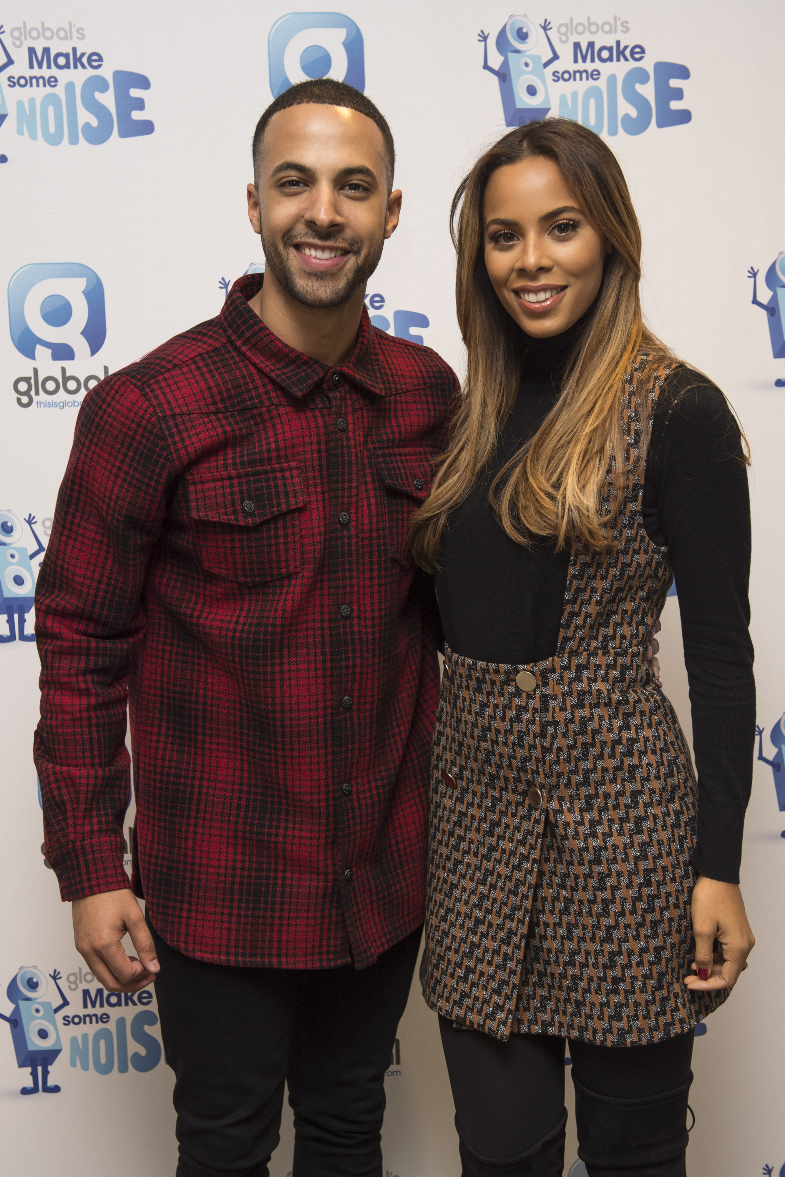 Marvin and Rochelle Humes taking part in Gobal's Make Some Noise, at the Global radio studios in central London. Global's Make Some Noise is a national charity that raises money to help disadvantaged youngsters and gives a voice to small projects and charities across the UK that struggle to raise awareness.