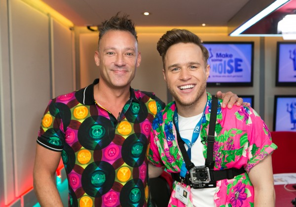 Olly Murs and Heart radio presenter Toby Antis (left) attending Global's Make Some Noise Charity Day at Global Radio station in Leicester Square, London.